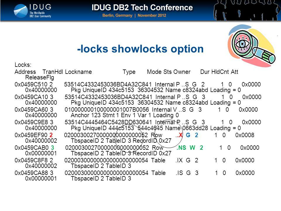 -locks showlocks option