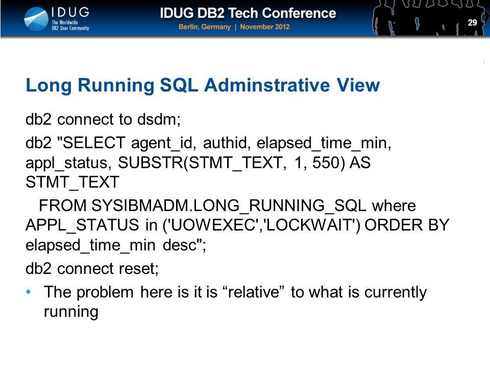 Long Running SQL Adminstrative View