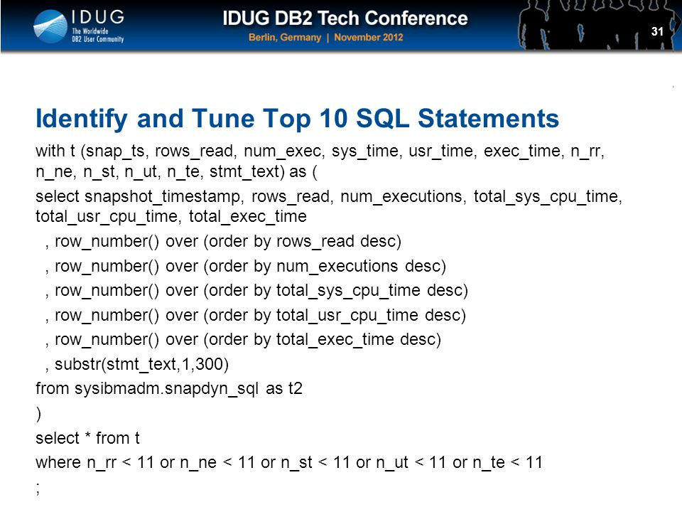 Identify and Tune Top 10 SQL Statements