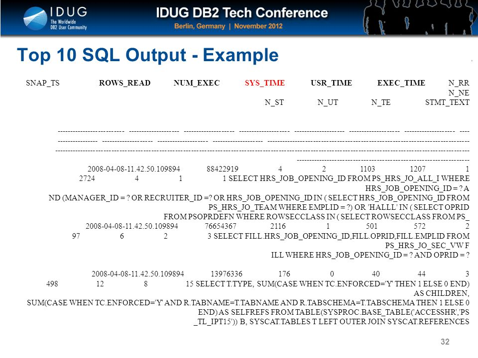 Top 10 SQL Output - Example