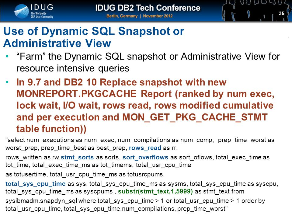 Use of Dynamic SQL Snapshot or Administrative View