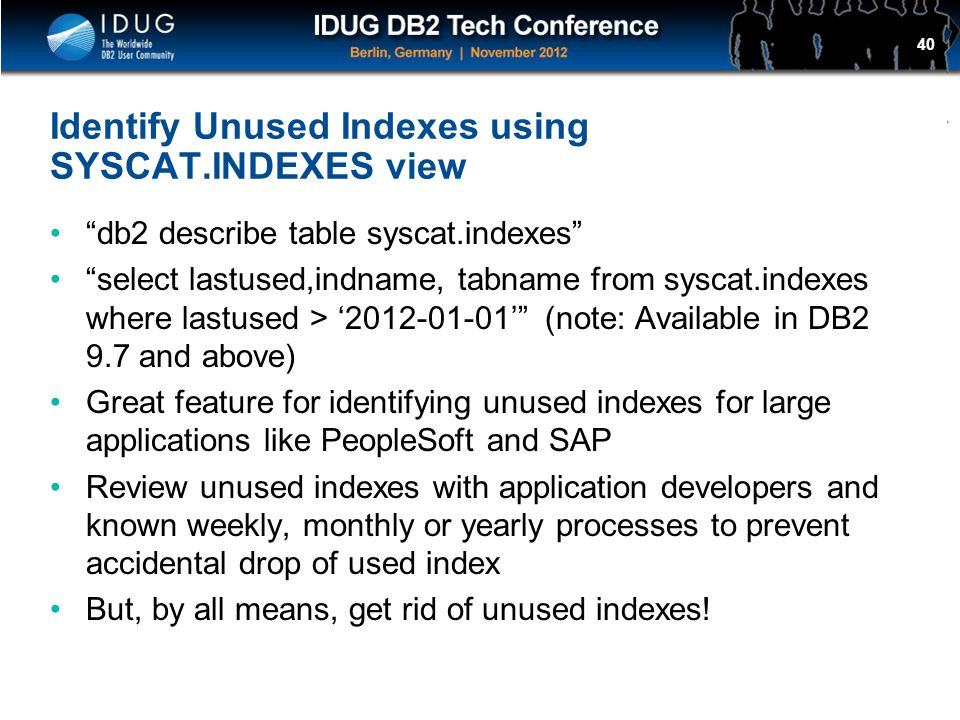 Identify Unused Indexes using SYSCAT.INDEXES view