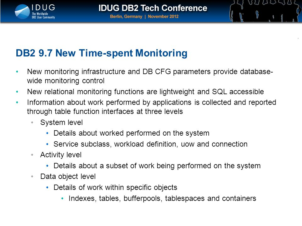 DB2 9.7 New Time-spent Monitoring