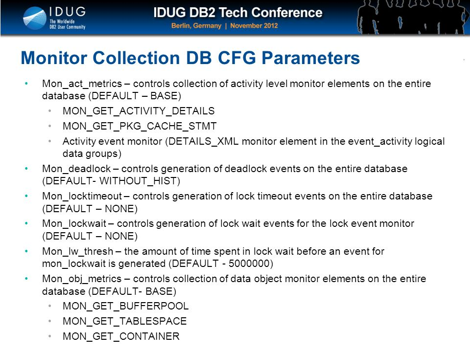 Monitor Collection DB CFG Parameters