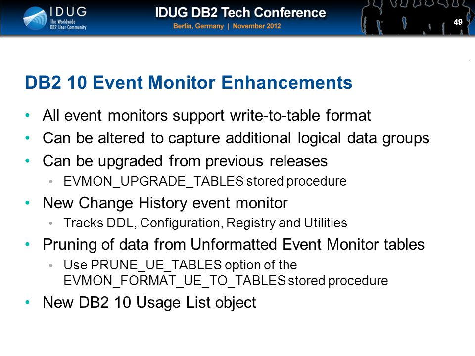 DB2 10 Event Monitor Enhancements