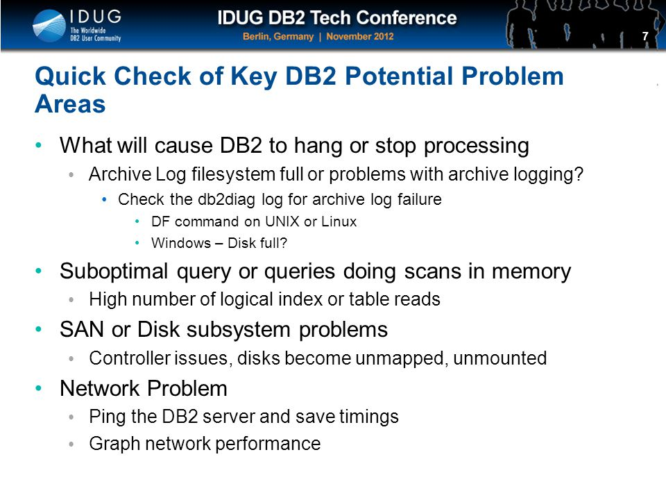 Quick Check of Key DB2 Potential Problem Areas