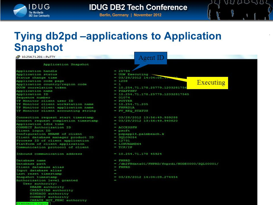 Tying db2pd –applications to Application Snapshot