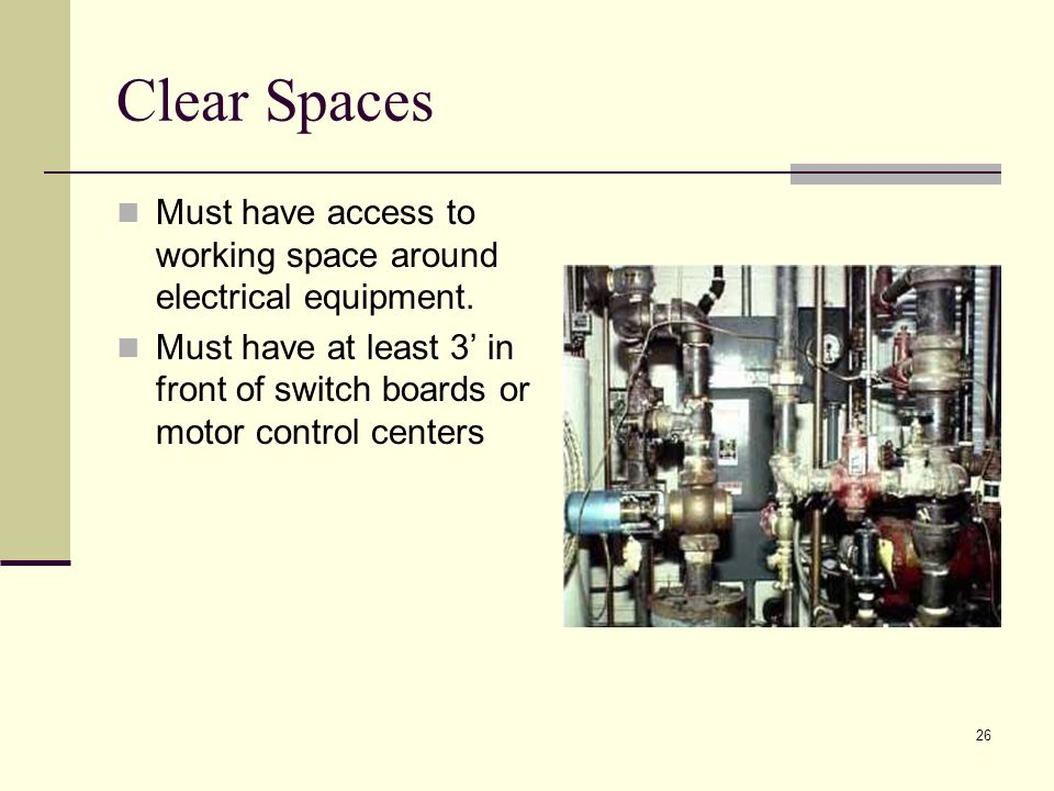 Clear Spaces Must have access to working space around electrical equipment.