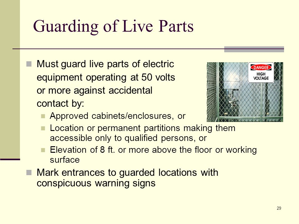 Guarding of Live Parts Must guard live parts of electric