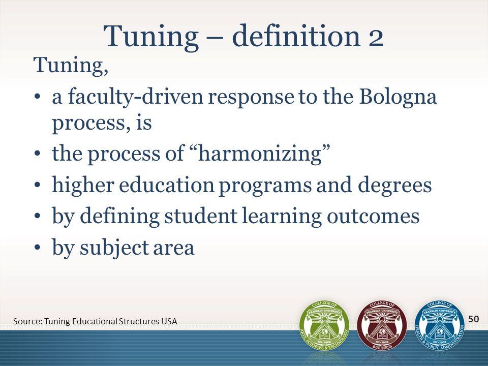 Tuning – definition 2 Tuning,
