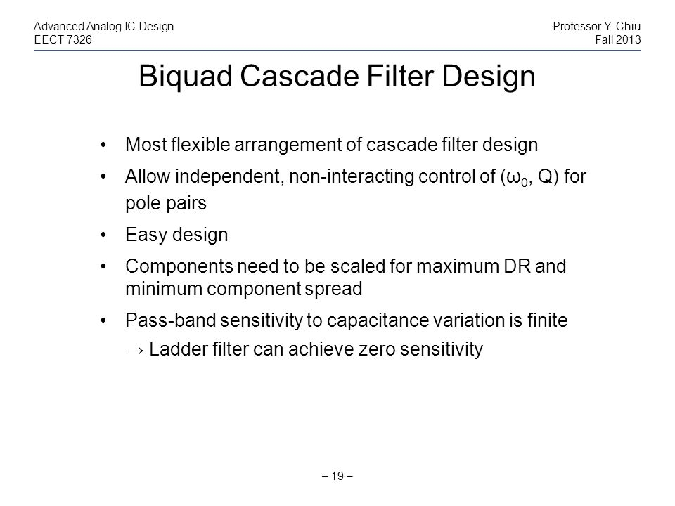 Biquad Cascade Filter Design