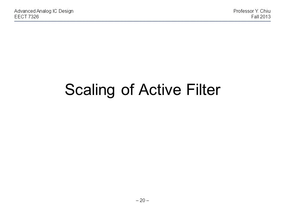 Scaling of Active Filter