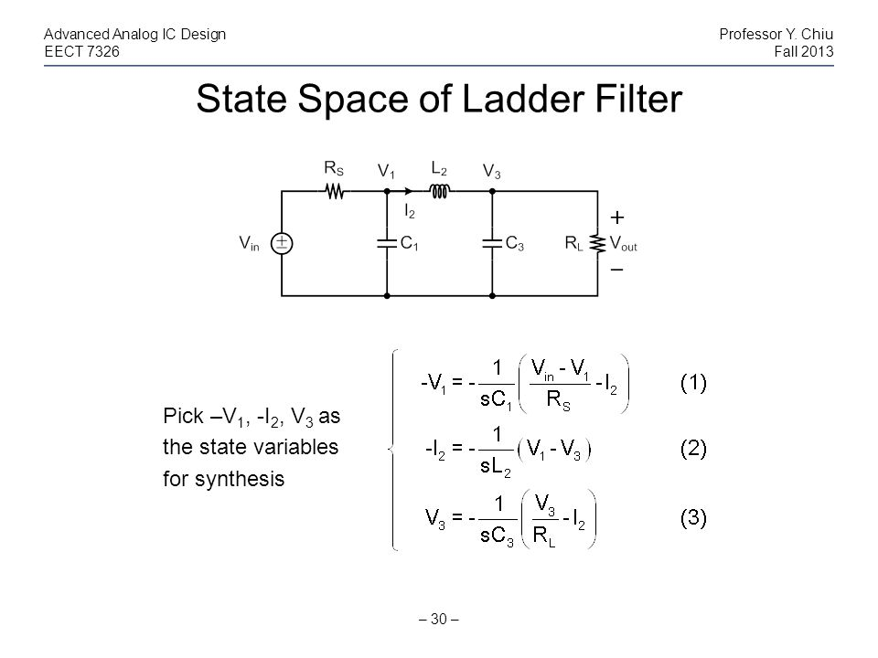 State Space of Ladder Filter