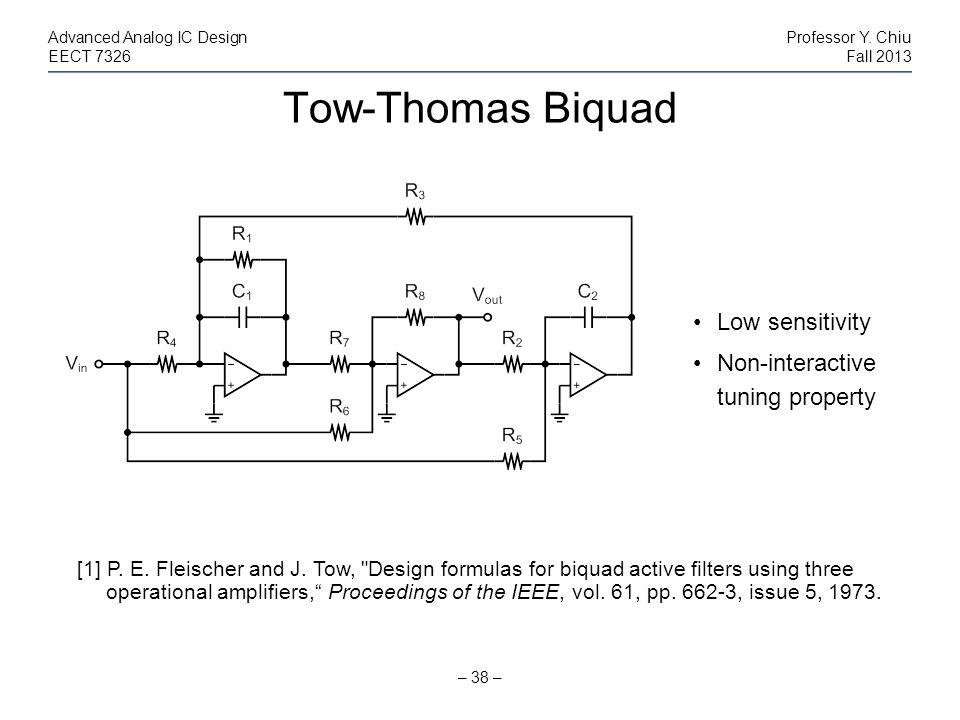 Tow-Thomas Biquad Low sensitivity Non-interactive tuning property