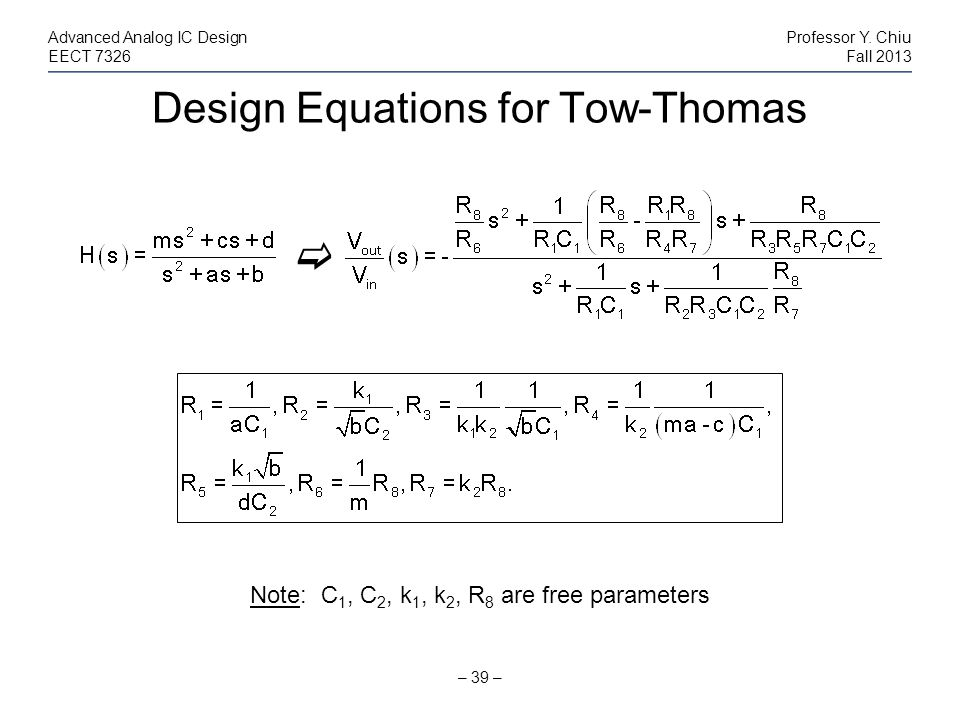 Design Equations for Tow-Thomas