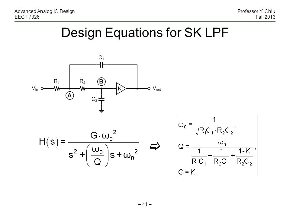 Design Equations for SK LPF