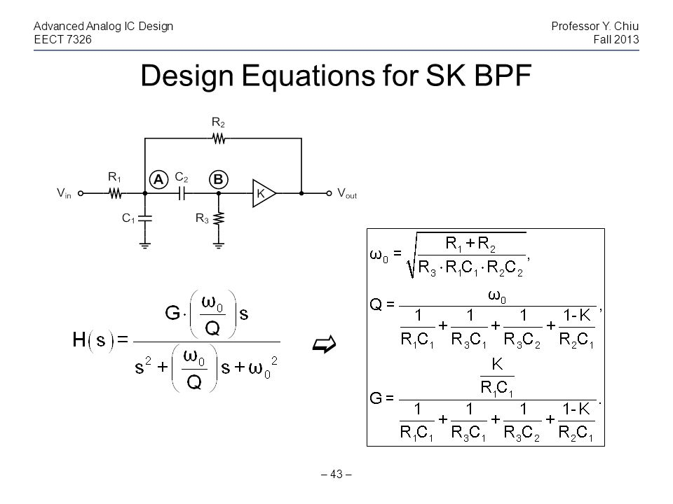Design Equations for SK BPF
