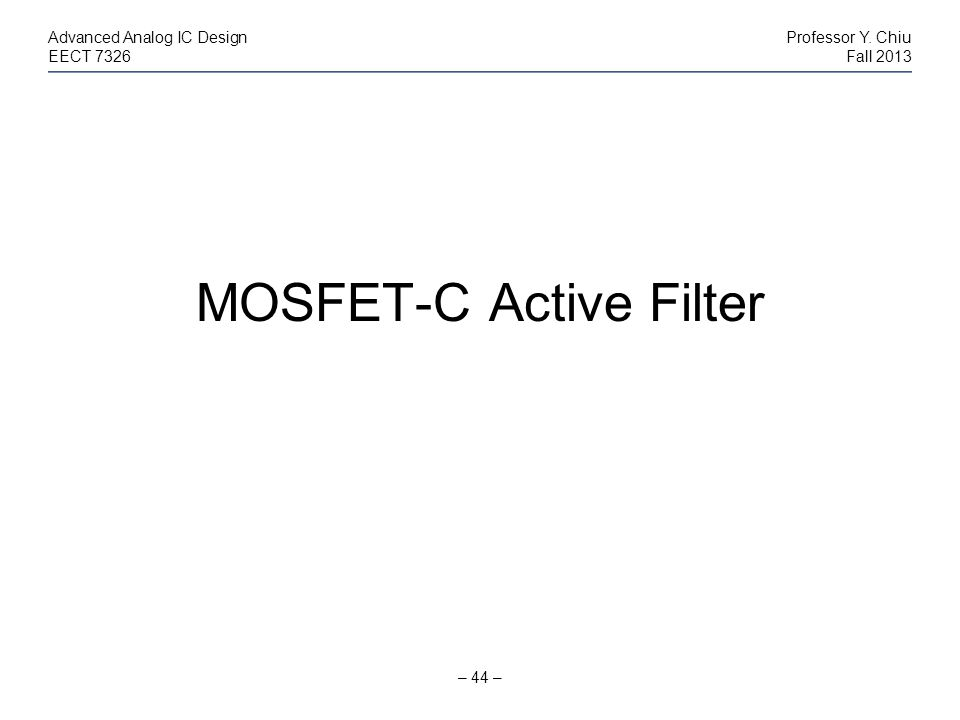 MOSFET-C Active Filter