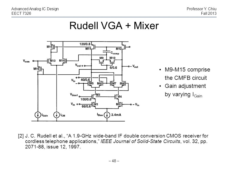 Rudell VGA + Mixer M9-M15 comprise the CMFB circuit Gain adjustment