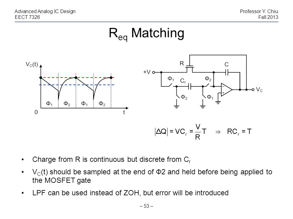 Req Matching Charge from R is continuous but discrete from Cr