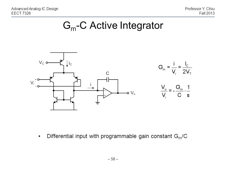Gm-C Active Integrator