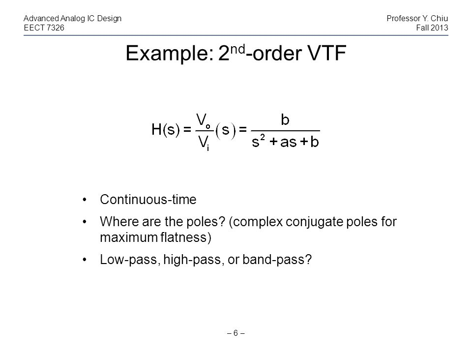 Example: 2nd-order VTF Continuous-time