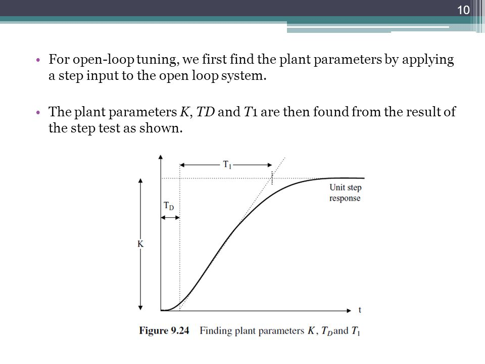 For open-loop tuning, we first find the plant parameters by applying a step input to the open loop system.