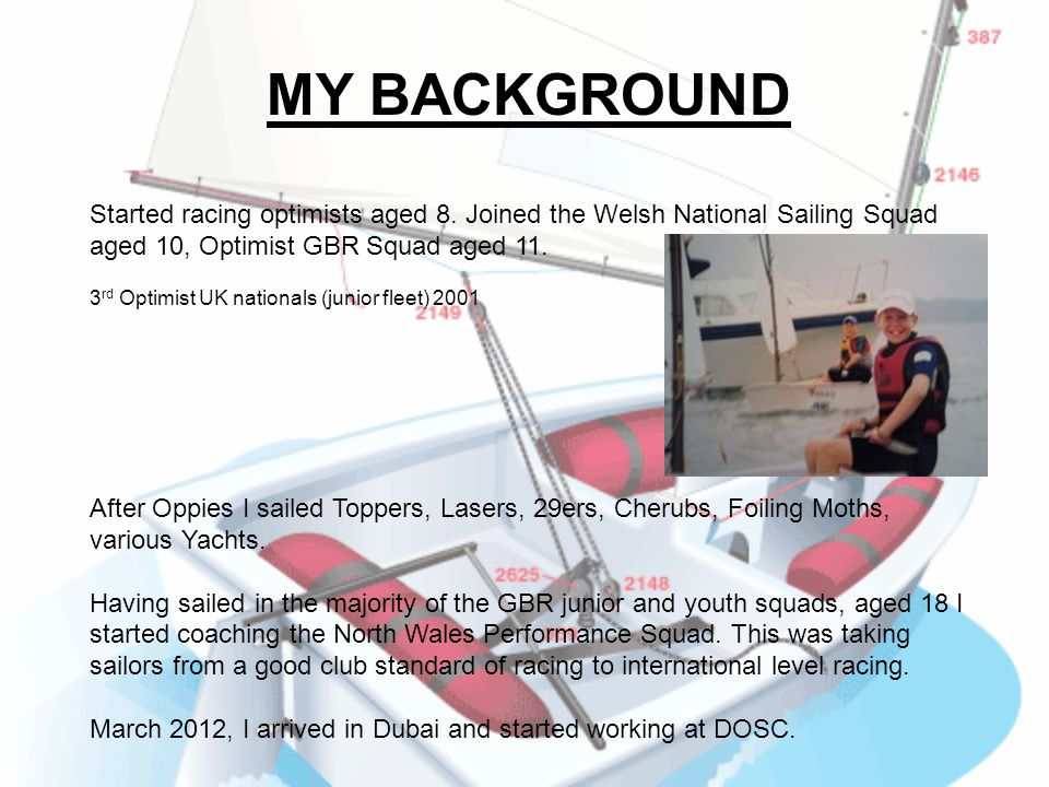 MY BACKGROUND Started racing optimists aged 8. Joined the Welsh National Sailing Squad aged 10, Optimist GBR Squad aged 11.