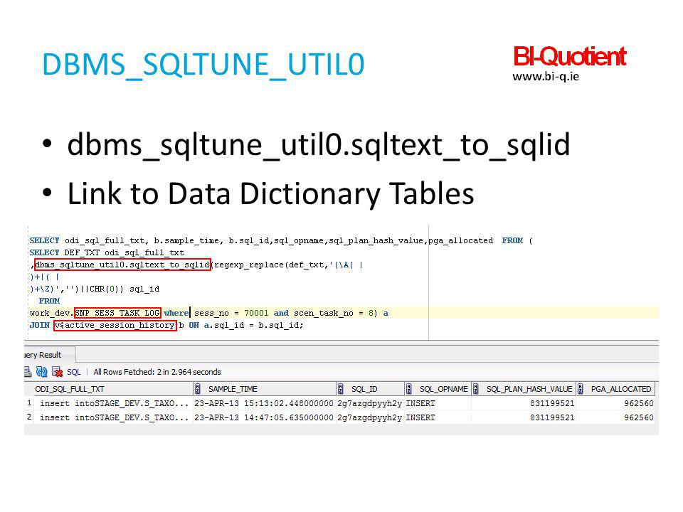 Dbms_sqltune_util0 dbms_sqltune_util0.sqltext_to_sqlid Link to Data Dictionary Tables