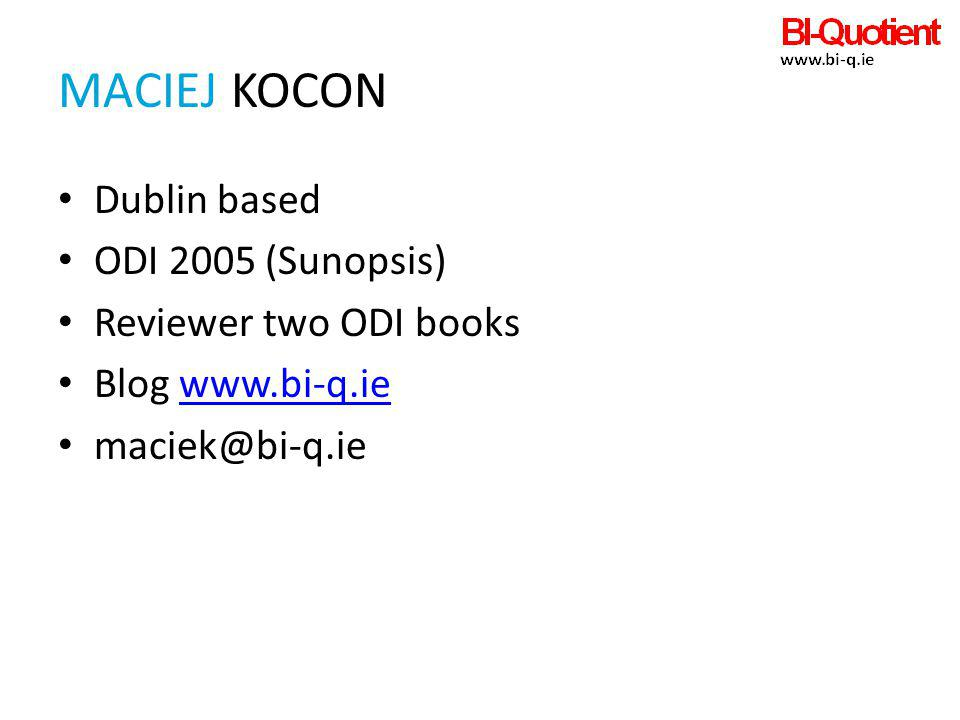 maciEJ KOCON Dublin based ODI 2005 (Sunopsis) Reviewer two ODI books