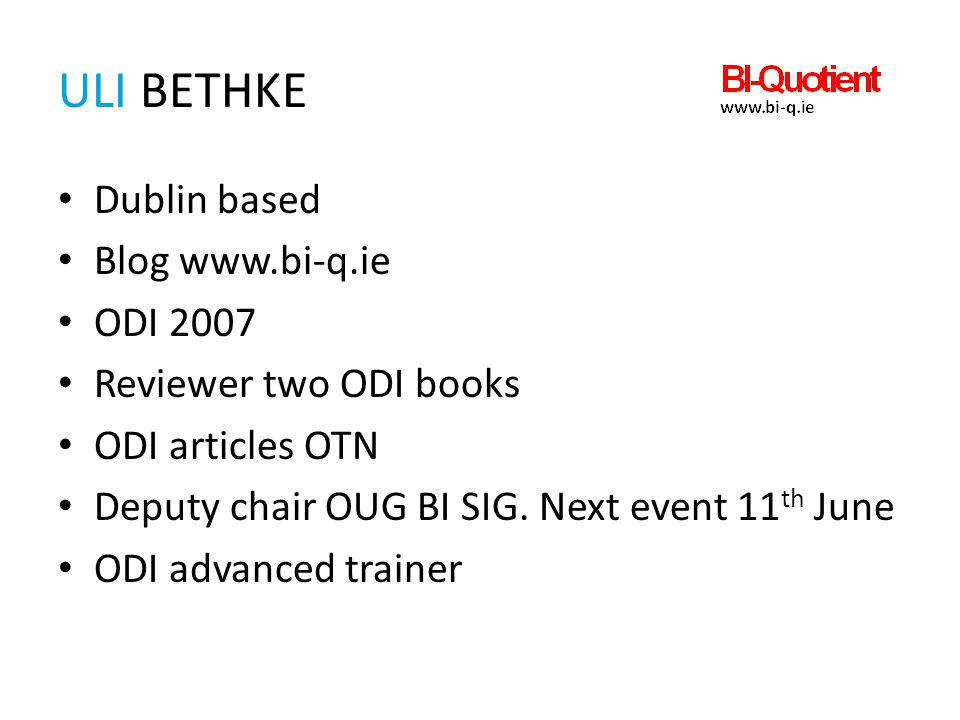 Uli Bethke Dublin based Blog www.bi-q.ie ODI 2007