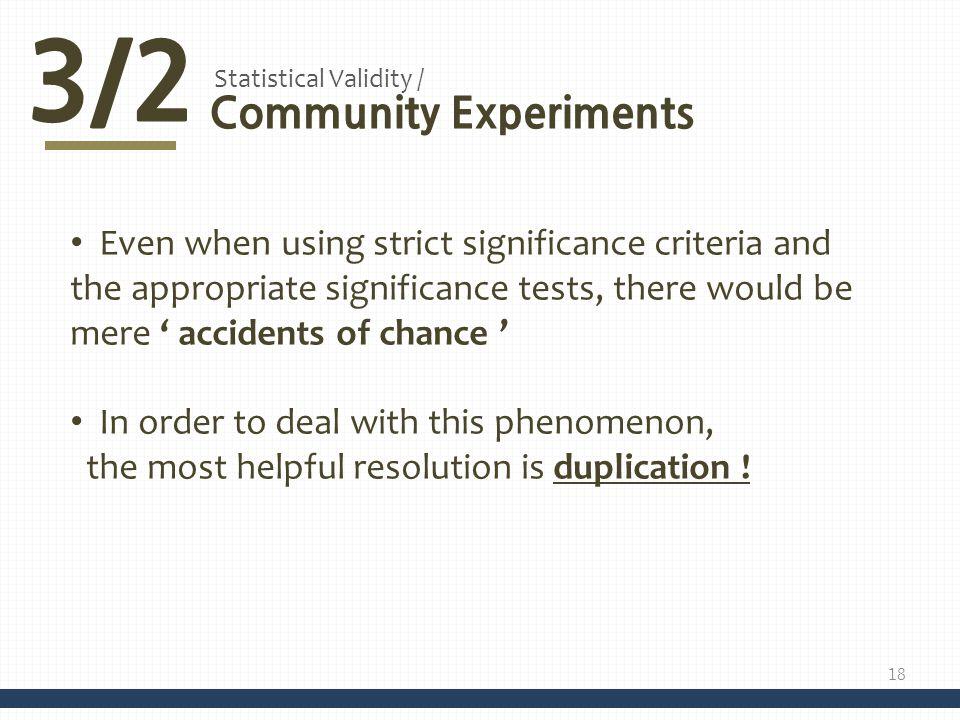 3/2 Community Experiments