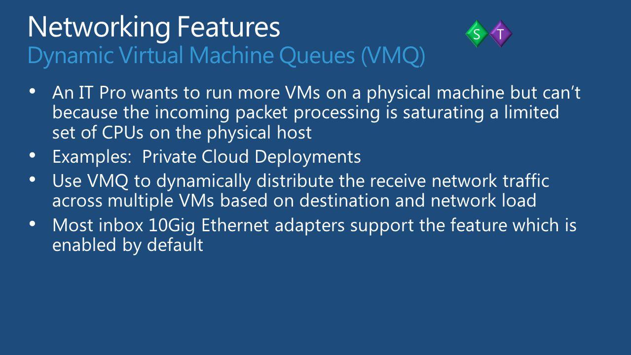 Networking Features Dynamic Virtual Machine Queues (VMQ)