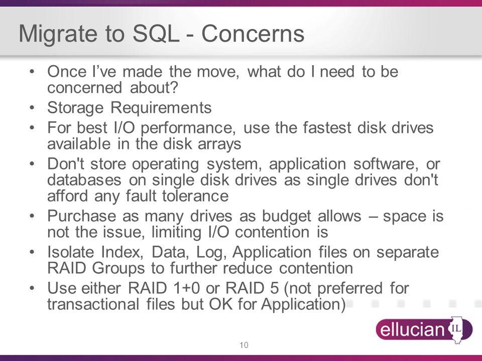 Migrate to SQL - Concerns