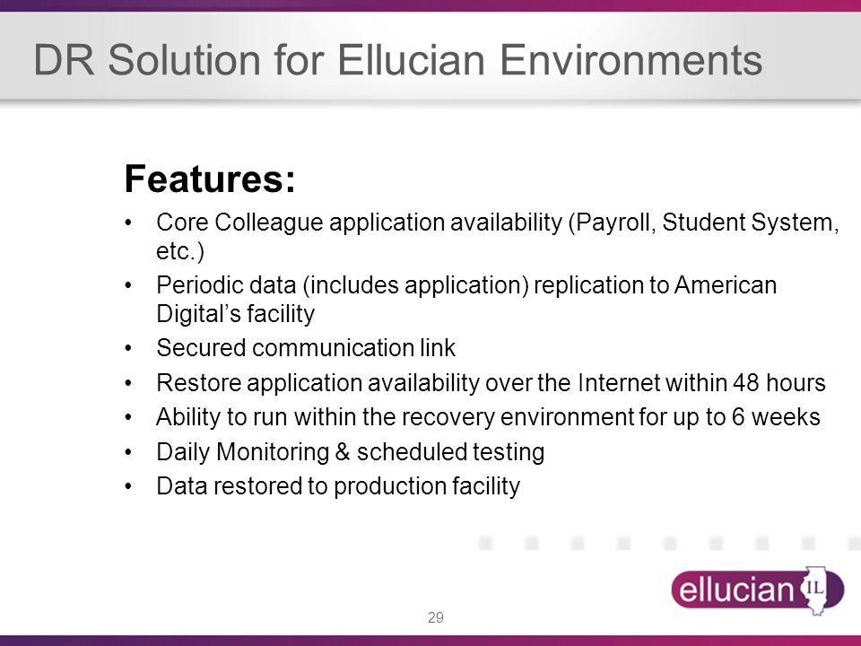 DR Solution for Ellucian Environments