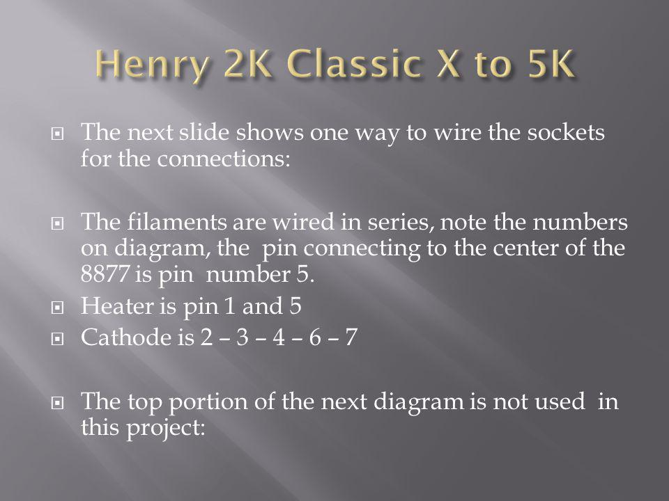 Henry 2K Classic X to 5K The next slide shows one way to wire the sockets for the connections: