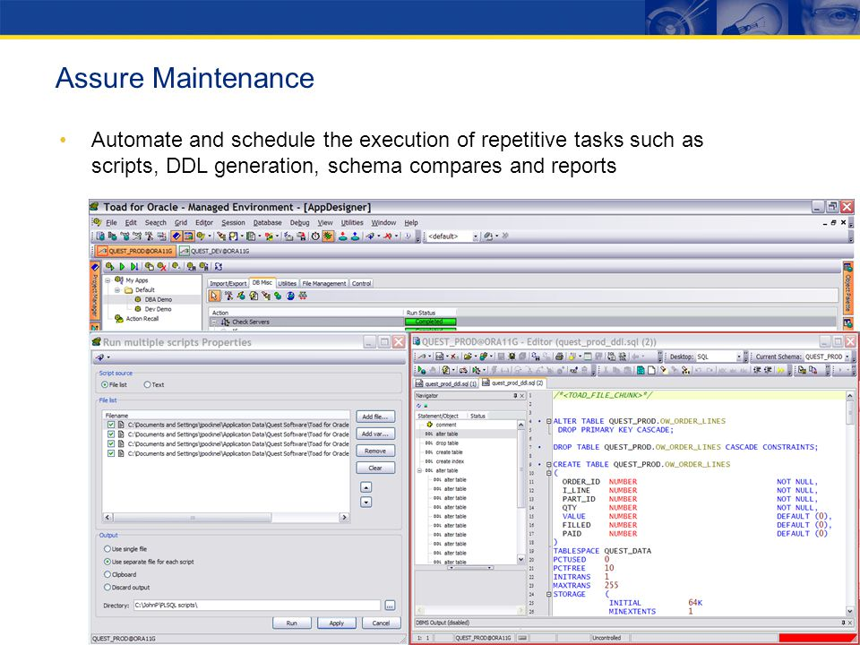 Assure Maintenance Automate and schedule the execution of repetitive tasks such as scripts, DDL generation, schema compares and reports.