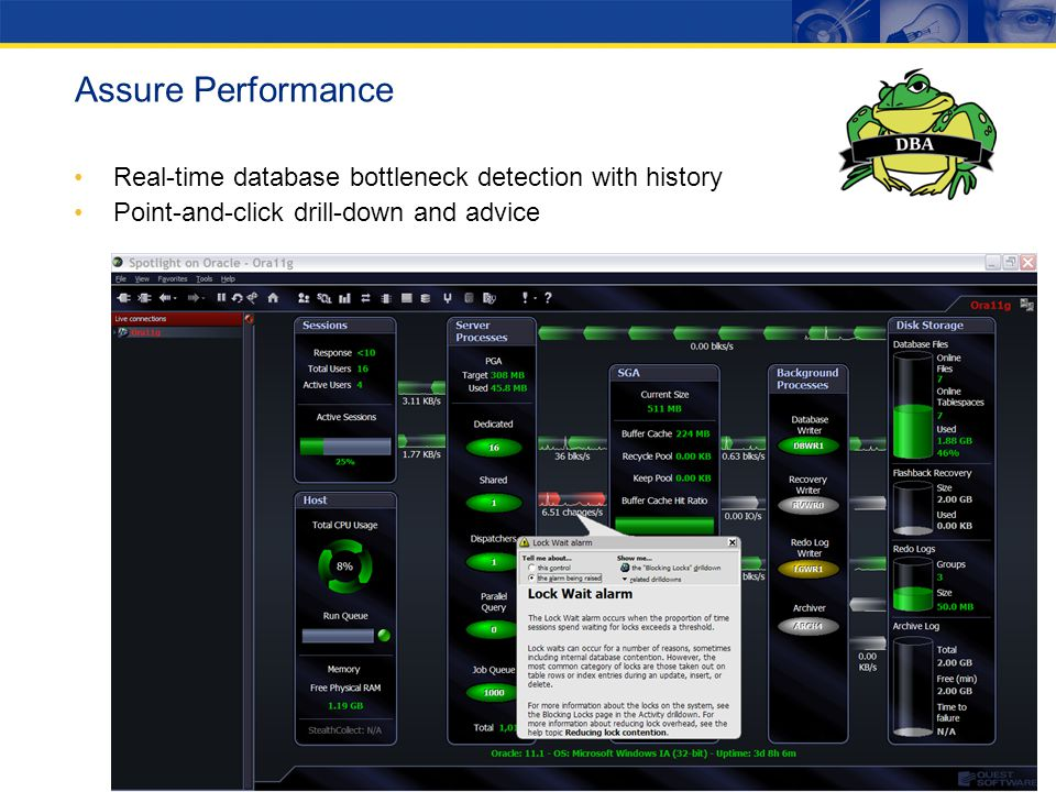 Assure Performance Real-time database bottleneck detection with history. Point-and-click drill-down and advice.