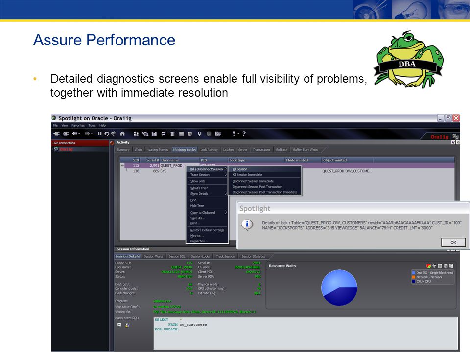 Assure Performance Detailed diagnostics screens enable full visibility of problems, together with immediate resolution.