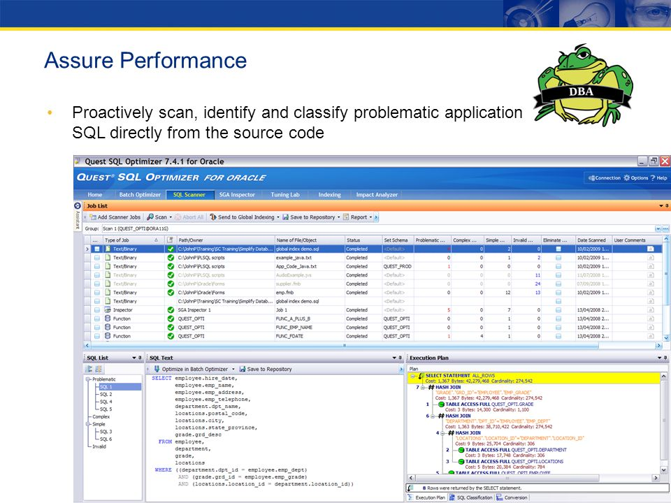 Assure Performance Proactively scan, identify and classify problematic application SQL directly from the source code.