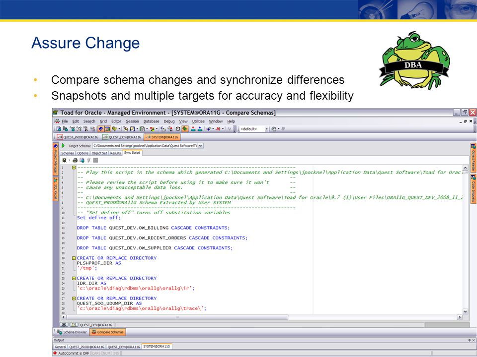 Assure Change Compare schema changes and synchronize differences