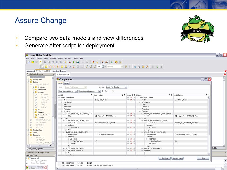 Assure Change Compare two data models and view differences
