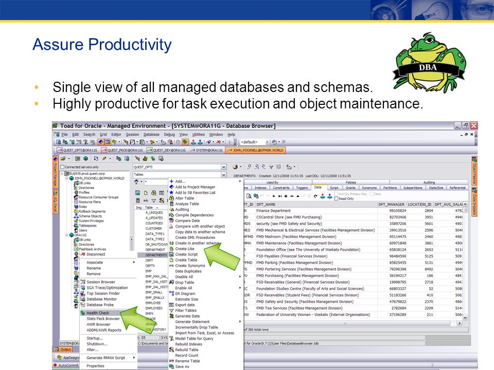 Assure Productivity Single view of all managed databases and schemas.