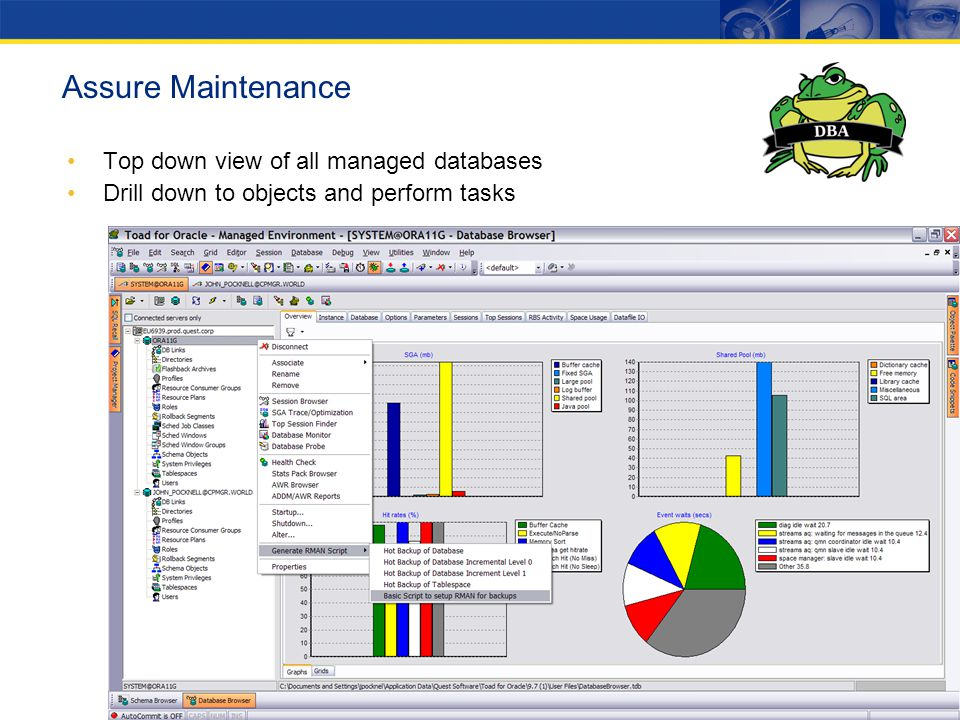 Assure Maintenance Top down view of all managed databases