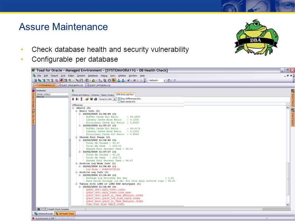 Assure Maintenance Check database health and security vulnerability