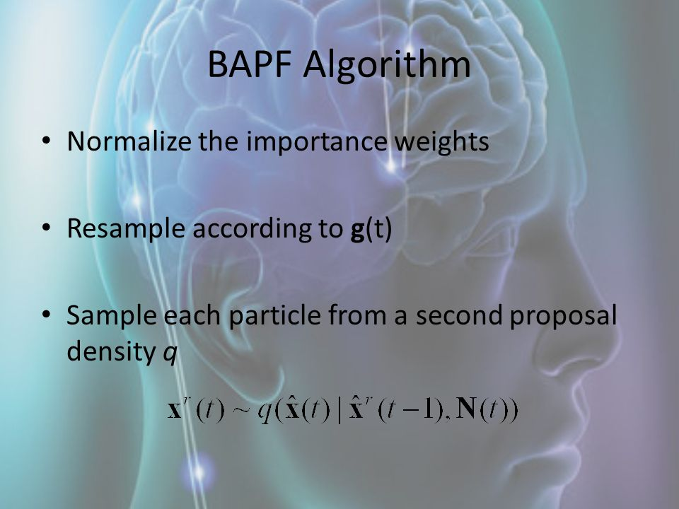 BAPF Algorithm Normalize the importance weights