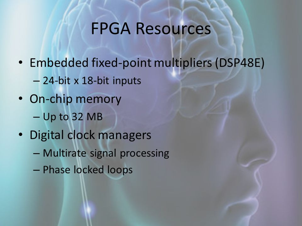 FPGA Resources Embedded fixed-point multipliers (DSP48E)