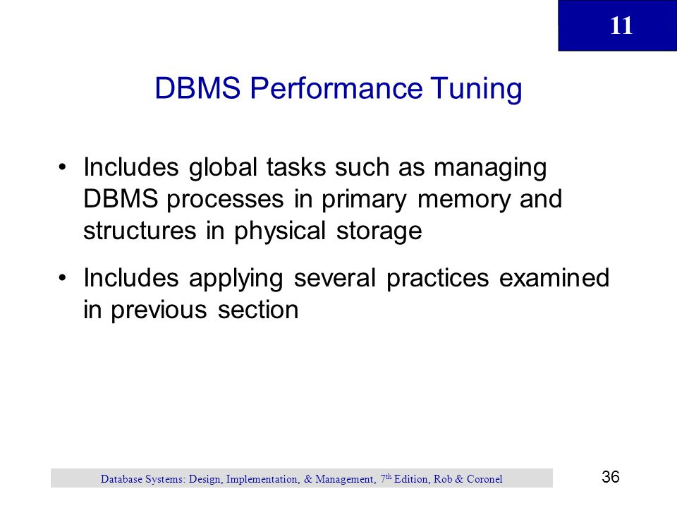 DBMS Performance Tuning