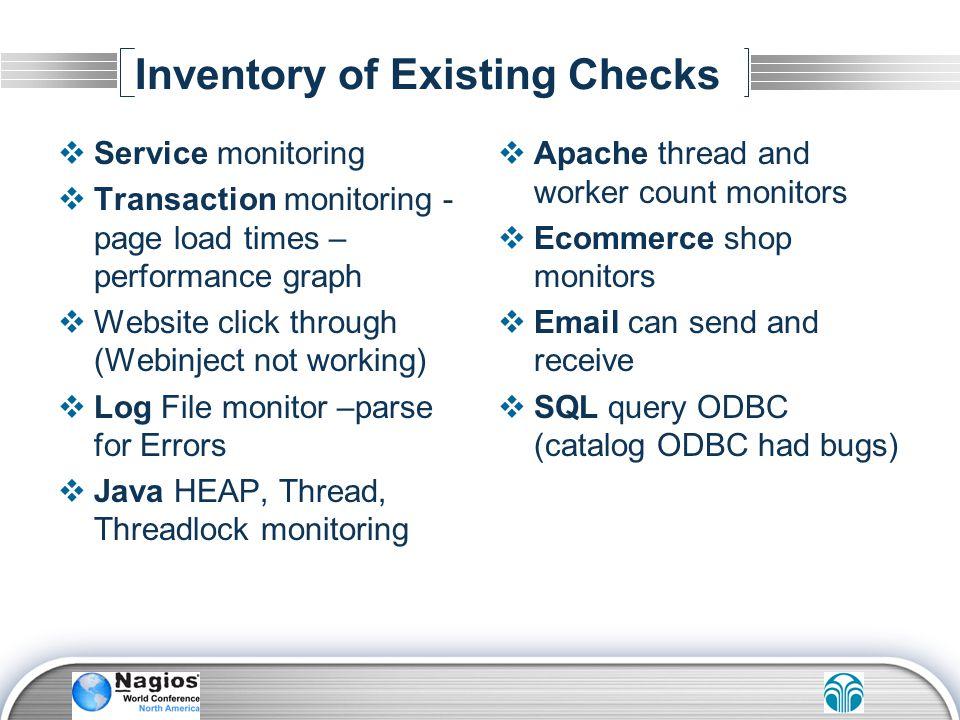 Inventory of Existing Checks