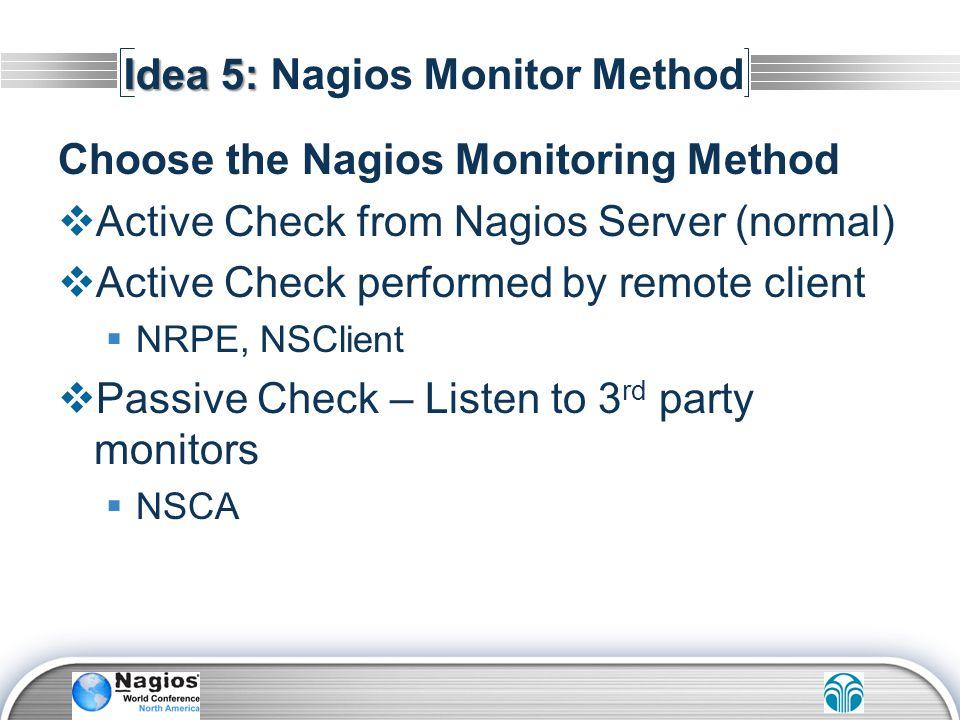 Idea 5: Nagios Monitor Method